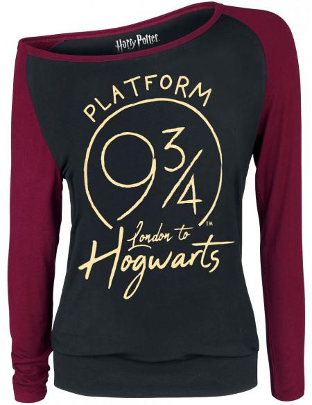 Harry Potter Platform 9 3/4 Haut à manches longues noir/bordeaux