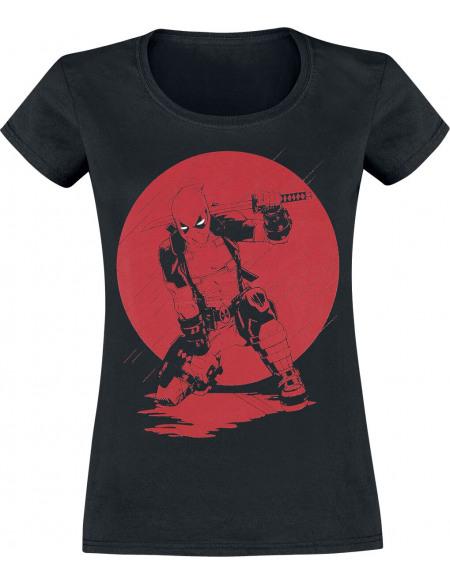 Deadpool Red Moon Samurai T-shirt Femme noir