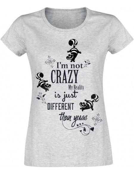 Alice Au Pays Des Merveilles Le Chat Du Cheshire - I'm Not Crazy T-shirt Femme gris chiné