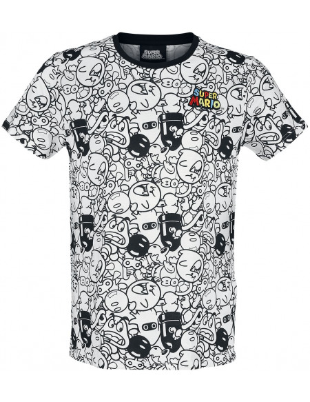 Super Mario Méchants T-shirt noir/gris/blanc