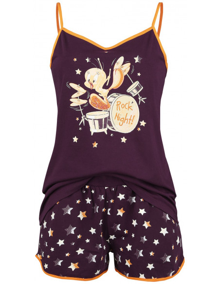 Looney Tunes Titi - Rock all Night Pyjama aubergine