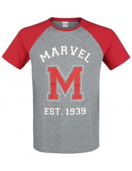 Marvel Est. 1939 T-shirt gris chiné/rouge