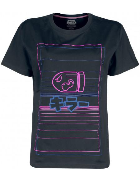 Super Mario Bullet Bill T-shirt Femme noir