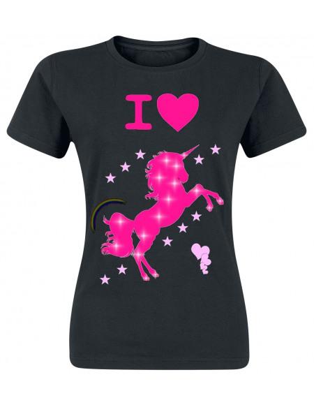 Unicorn I Love T-shirt Femme noir