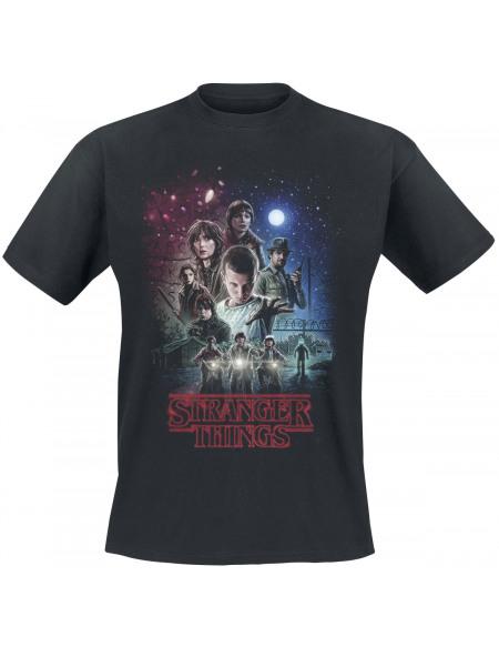 Stranger Things Poster Retro T-shirt noir