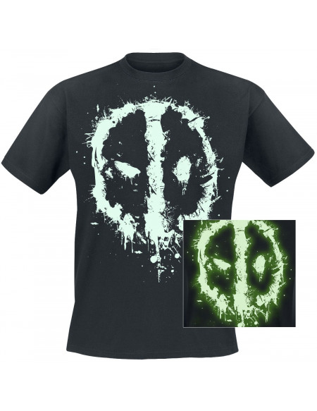 Deadpool Logo GITD T-shirt noir