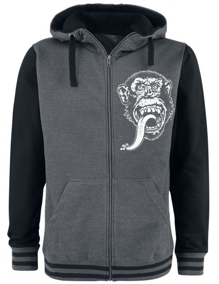 Gas Monkey Garage Texas Varsity Sweat Zippé à Capuche gris sombre chiné