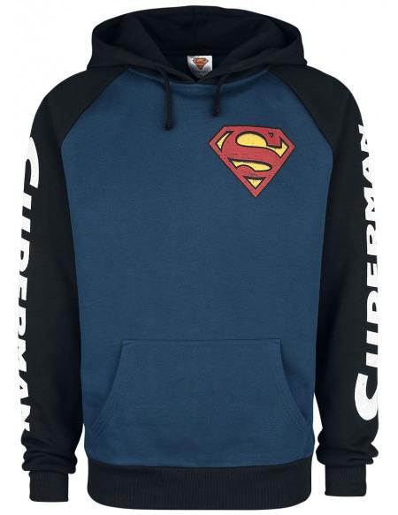Superman Emblème Sweat à capuche noir/bleu