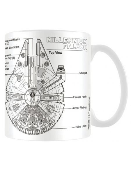 Star Wars Millennium Falcon Sketch Mug blanc