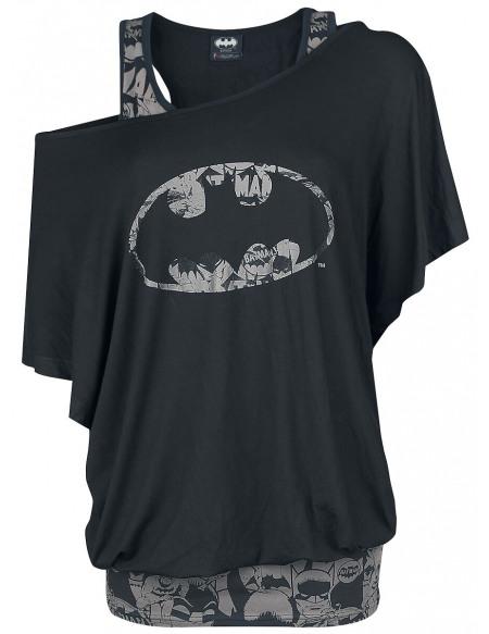 Batman Bat Signal T-shirt Femme noir