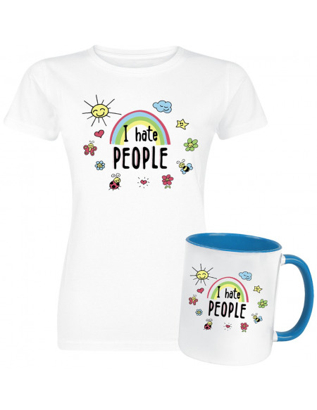 Coffret Cadeau I Hate People T-shirt Femme blanc