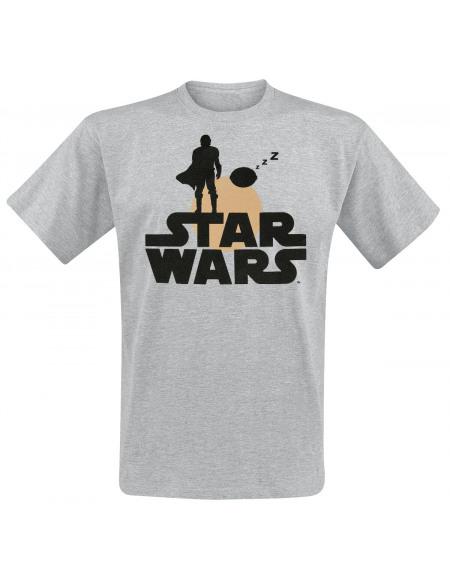 Star Wars The Mandalorian - Silhouette T-shirt gris chiné