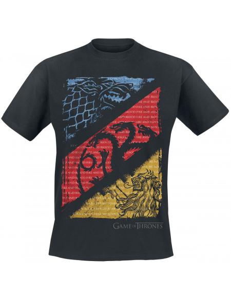 Game Of Thrones Grandes Maisons : Stark, Targaryen, Lannister T-shirt noir