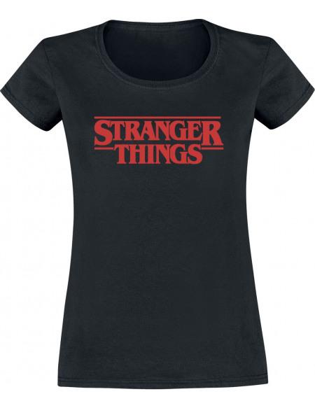 Stranger Things Logo Classique T-shirt Femme noir