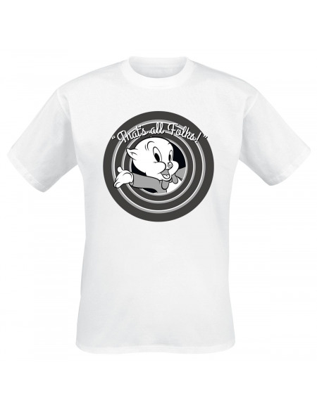 Looney Tunes Porky Pig - That's All Folks T-shirt blanc