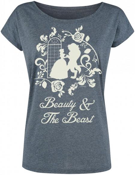 La Belle Et La Bête Silhouetten T-shirt Femme bleu chiné