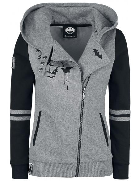 Batman Bat-Logo Veste à Capuche Femme gris chiné/noir