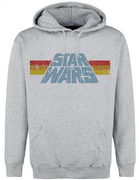 Star Wars Logo Vintage Sweat à capuche gris chiné