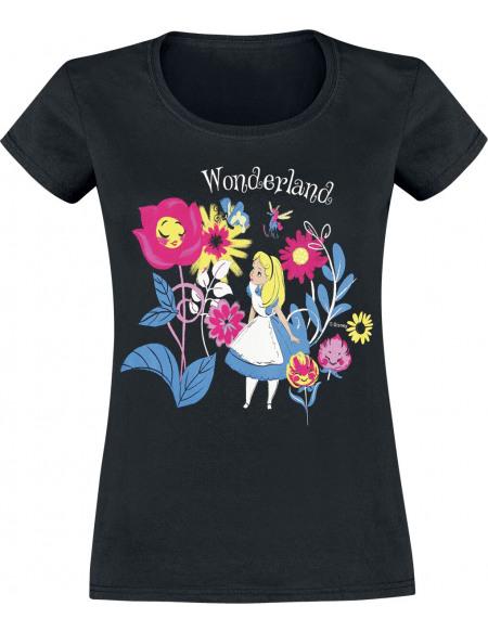 Alice Au Pays Des Merveilles Papillons & Fleurs T-shirt Femme noir