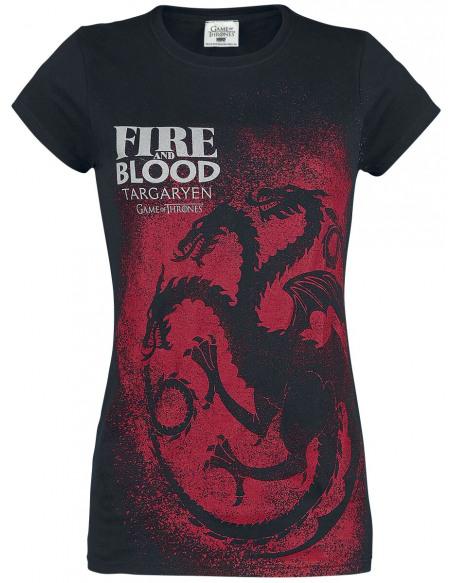 Game Of Thrones Maison Targaryen - Fire And Blood - Emblème T-shirt Femme noir