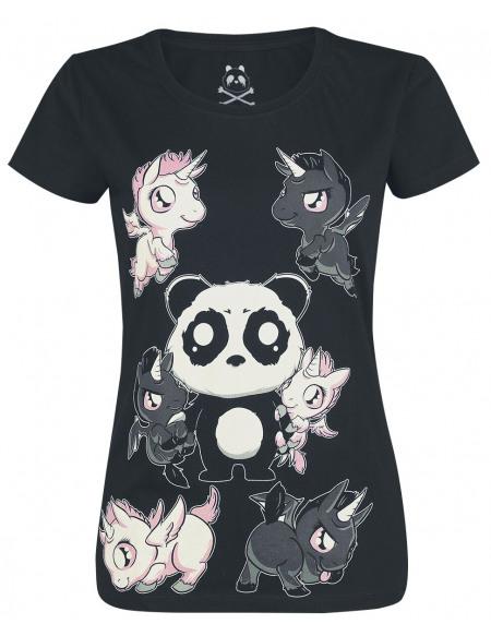 Unicorn Panda T-shirt Femme noir