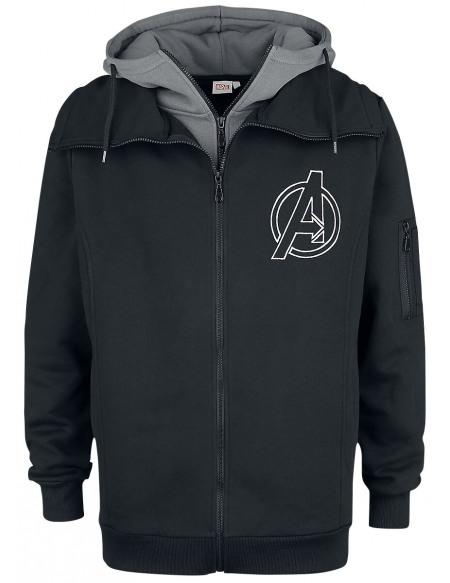Avengers Logo Sweat Zippé à Capuche noir/gris