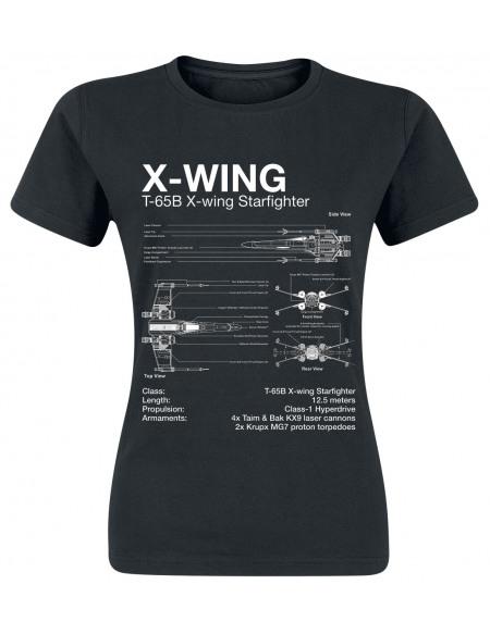 Star Wars X-Wing - Croquis T-shirt Femme noir