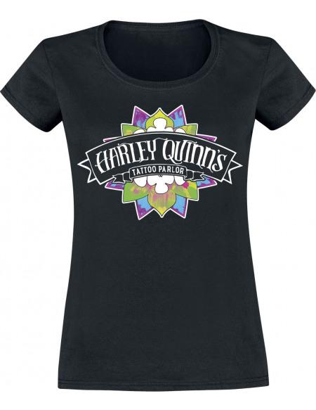 Suicide Squad Harley Quinn Tattoo Parlour T-shirt Femme noir