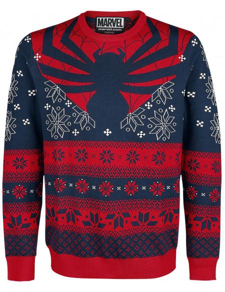 Spider-Man Araignée Pull tricoté bleu/rouge