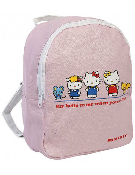 Hello Kitty Say hello to me when you see me Sac à Dos rose clair