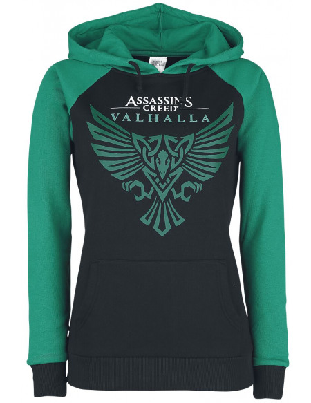 Assassin's Creed Valhalla - Corbeau Sweat à Capuche Femme noir/pétrole