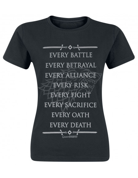 Game Of Thrones House Stark - Every Fight T-shirt Femme noir