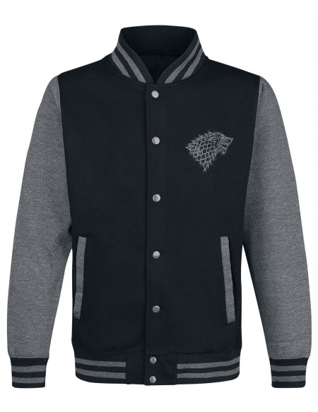 Game Of Thrones Maison Stark Winterfell Veste de Football Américain noir/gris