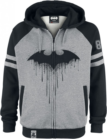 Batman Bat-Logo Sweat Zippé à Capuche gris chiné/noir