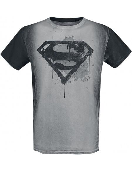 Superman Logo Encre T-shirt gris/noir