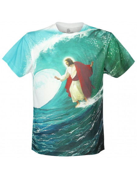 Goodie Two Sleeves Surfs Up Jesus T-shirt blanc