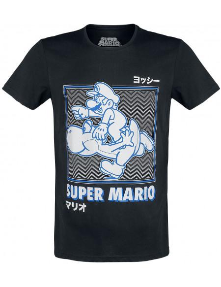 Super Mario Mario & Yoshi - Japanese T-shirt noir
