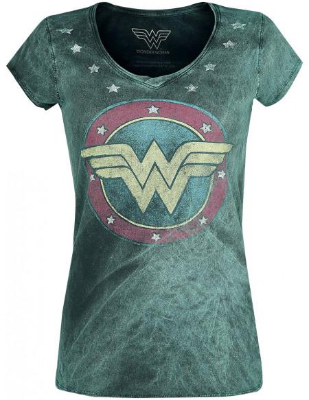 Wonder Woman Logo Vintage T-shirt Femme vert