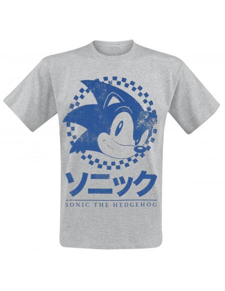 Sonic The Hedgehog Japonais T-shirt gris chiné