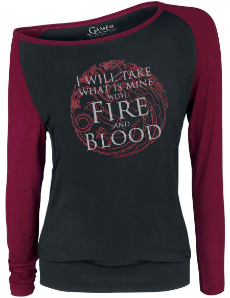 Game Of Thrones Fire And Blood Haut à manches longues noir/bordeaux