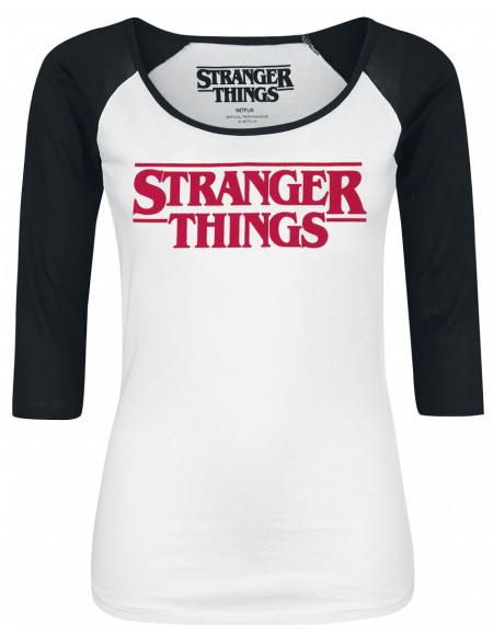 Stranger Things Logo Haut à manches longues noir/blanc