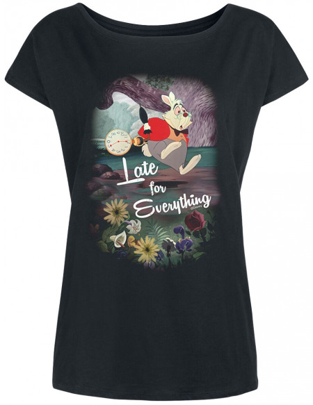 Alice Au Pays Des Merveilles Late For Everything T-shirt Femme noir