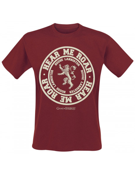 Game Of Thrones Maison Lannister - Hear Me Roar T-shirt bordeaux