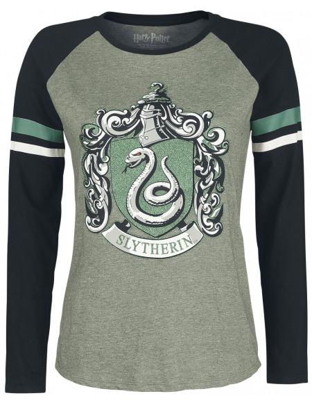 Harry Potter Serpentard Haut à manches longues kaki/noir