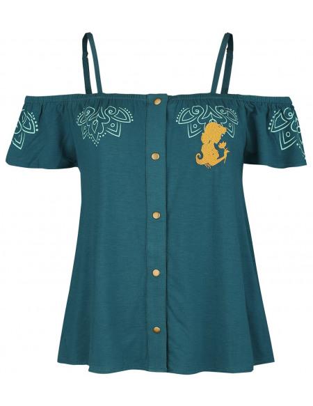 Aladdin Jasmine Épaules Découvertes T-shirt Femme vert foncé