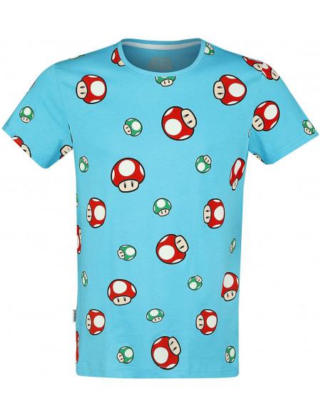 Super Mario Toad - Têtes T-shirt bleu clair