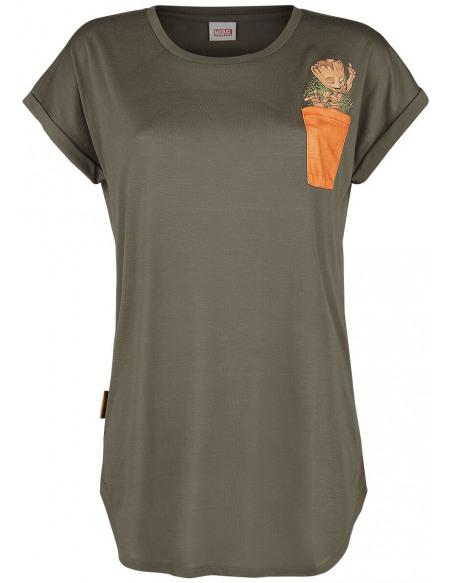 Les Gardiens De La Galaxie Groot T-shirt Femme olive