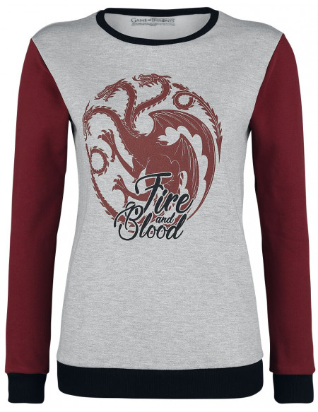 Game Of Thrones Maison Targaryen - Fire And Blood Sweat-shirt Femme gris chiné/rouge