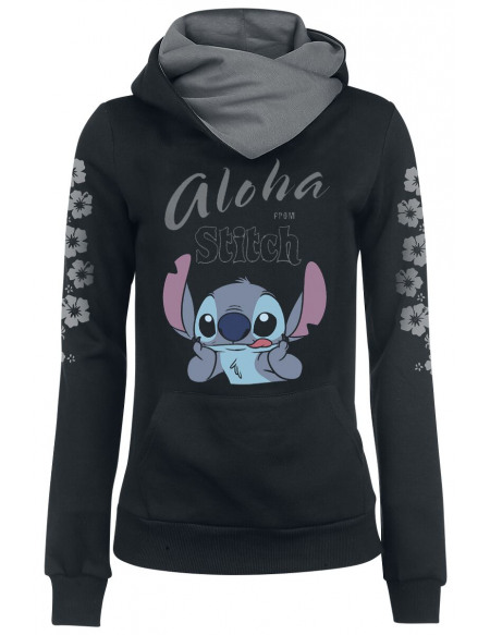 Lilo & Stitch Aloha From Stitch Sweat à Capuche Femme noir/gris