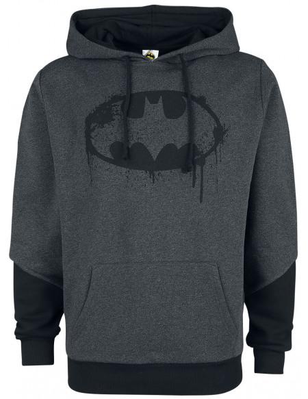 Batman Logo Destroyed Sweat à capuche gris chiné/noir